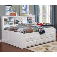White Full Bookcase Daybed with Drawer Underbed Storage