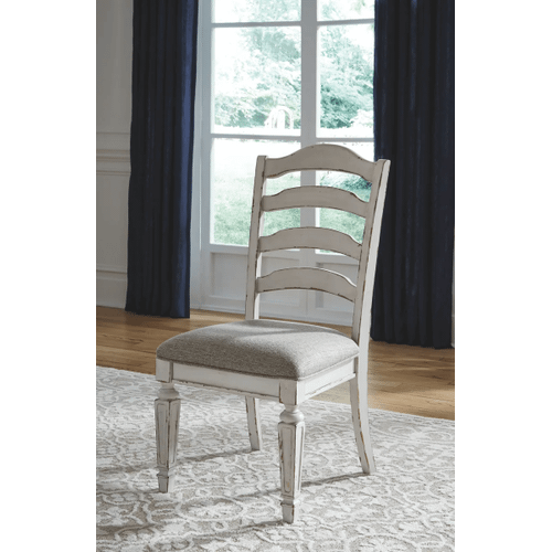 Realyn - Chipped White - 7 Pc. - Oval Extension Table & 6 Upholstered Side Chairs