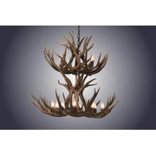 REAL 12 Light Double Tiered Mule Deer Antler Chandelier