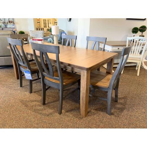 Farmhouse Dining Room Set (6) w. Wooden Side Chairs