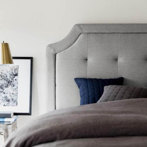 Malouf - TWIN SCOOPED SQUARE TUFTED UPHOLSTERED HEADBOARD STONE