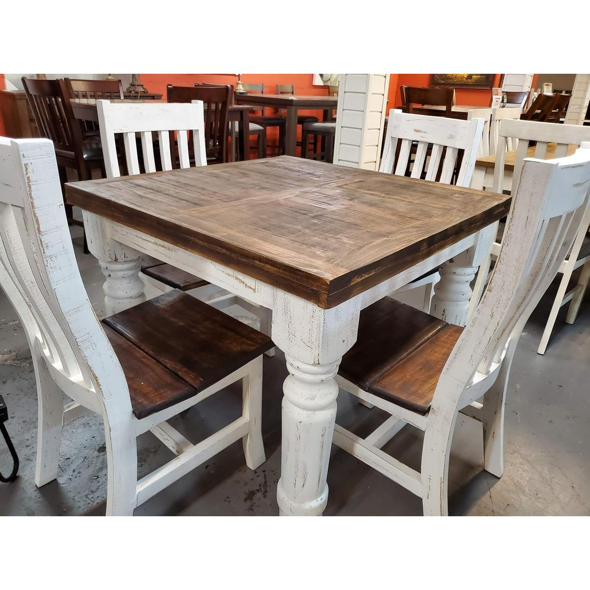 """See Details - 40"""" Square White Distressed Counter Height Table"""