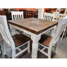 "40"" Square White Distressed Counter Height Table"
