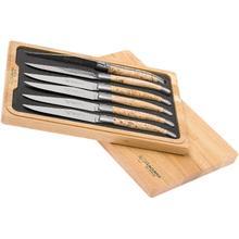 Laguiole en Aubrac Stainless Steel Steak Knives Set of 6-Piece with Birchwood Handle in Luxury Gift Box