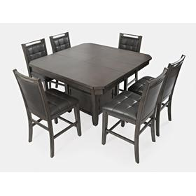 See Details - Manchester High/low Square Table & 6 Stools Grey
