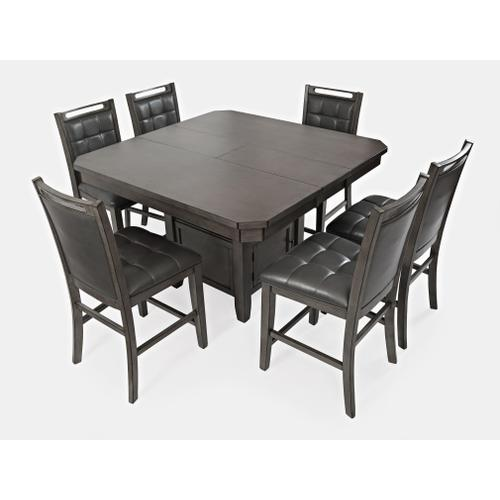 Jofran - Manchester High/low Square Table & 6 Stools Grey