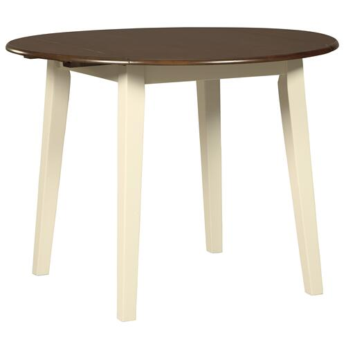 Signature Design By Ashley - Woodanville Round DRM Drop Leaf Table Cream/Brown