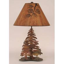 Iron Moose With Trees Table Lamp