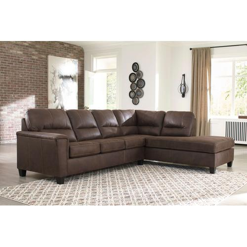 Navi - Chestnut - 2-Piece Sofa Sectional with Right Chaise