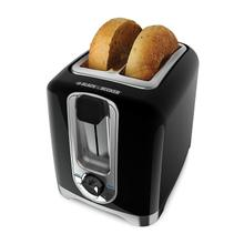 BLACK DECKER 2-Slice Toaster, Square, Black with Chrome Accents, TR1256B