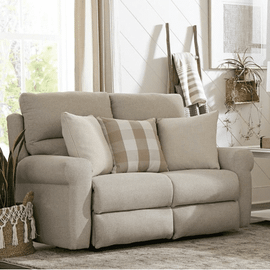 See Details - Happy Place Power Lay Flat Reclining Loveseat Cement