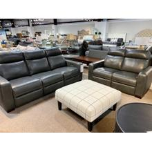Stallion Dark Grey Leather Full Power Sofa & Loveseat