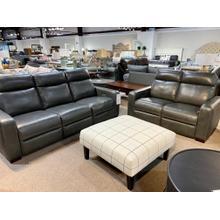 See Details - Stallion Dark Grey Leather Full Power Sofa & Loveseat
