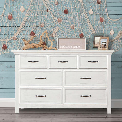 Evolur Belmar Double Dresser- Weathered White