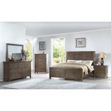 Galleon 4 Pc. King Bedroom - Weathered Walnut - King Bed, Dresser & Mirror