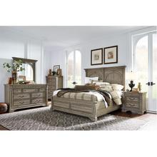 MILFORD CREEK LARK BROWN KING BEDROOM SET: INCLUDES KING BED, NIGHTSTAND, DRESSER & MIRROR