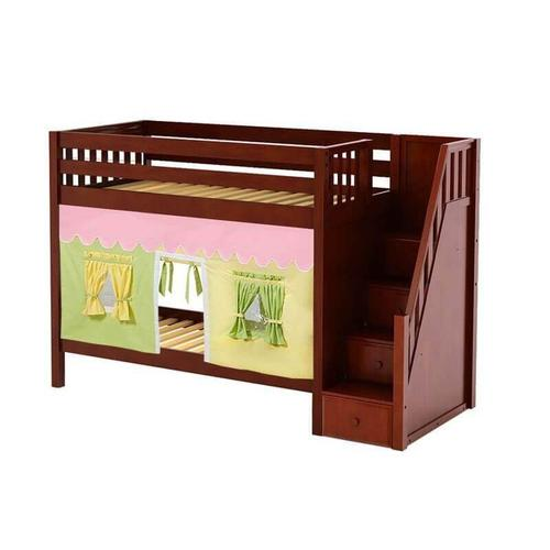 Maxtrix - Medium High Bunk Bed with Staircase on End & Curtain in Chestnut finish