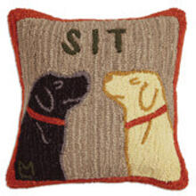 "SIT 18"" HOOKED WOOL PILLOW"