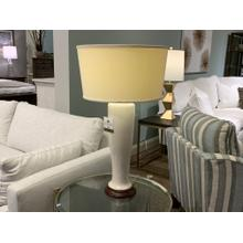 White Ceramic Table Lamp with Up Turned Shade