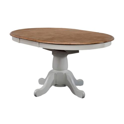"57"" Pedestal Table w 15"" Butterfly Leaf, Rustic Brown/White"