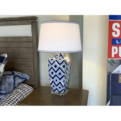 Ceramic Glazed Painted Blue Table Lamp with White Shade