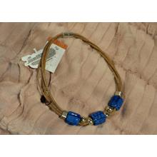 Beige necklace with blue ceramics