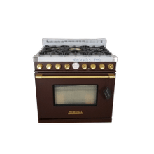 See Details - Range DECO 36'' Classic Brown matte, Gold 6 gas, gas oven
