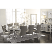 Coralayne - Silver Finish - 9 Pc. - Rectangular Extension Table & 8 Upholstered Side Chairs