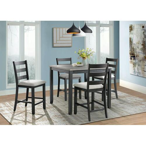 5-Piece Martin Counter Height Dining Set in Grey & Black Finish