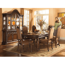 North Shore - Dark Brown - 9 Pc. - Rectangular Extension Table, 4 Upholstered Side Chairs, 2 Upholstered Arm Chairs, Buffet & China