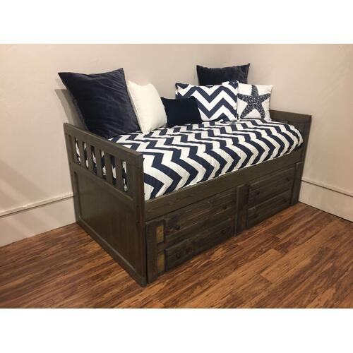 "Full Captains Bed W"" 4 Drawers Rustic Grey"