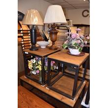 Barnwood and metal end tables and coffee table.