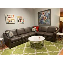 2 Piece Leather Sectional w/ Power Recliner