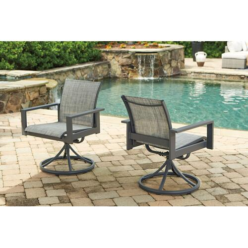 Okada Outdoor Dining Table with 4 Swivel Chairs