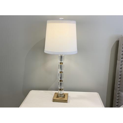 Glass & Gold Decorative Table Lamp with White Shade