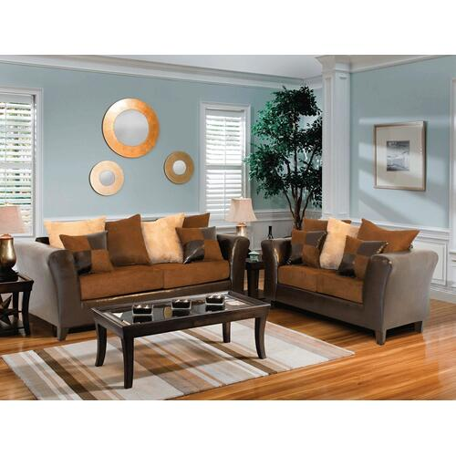 Kaylas Furniture - 100 Bi-Cast and Fabric Sofa and Loveseat Set - 80 Brown