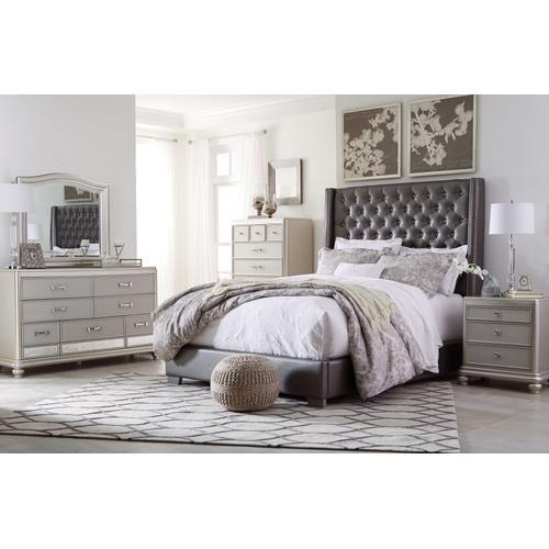 Coralayne - Queen Upholstered Bed, Dresser, Mirror, & 1 x Nightstand
