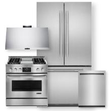 """See Details - Stainless Steel 36"""" French Door Freestanding Refrigerator 4 Piece Package- Minor Case Imperfections"""