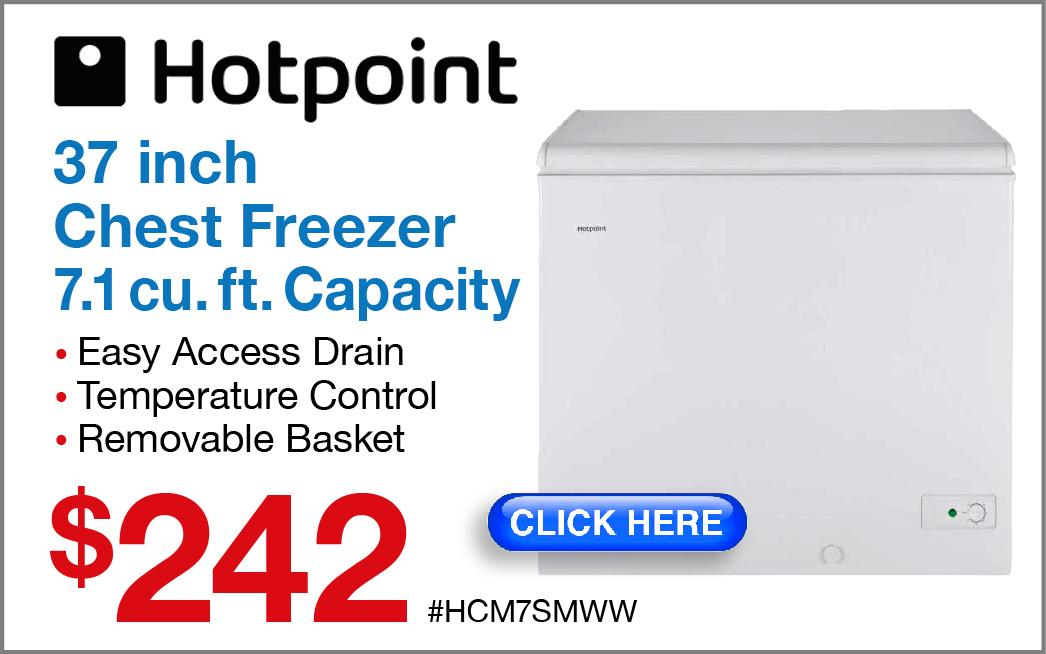 Hotpoint Manual Defrost Chest Freezer HCM7SMWW