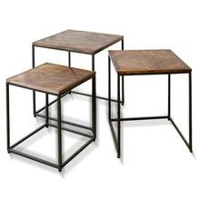 View Product - DARK WOOD & IRON | Set of Three Nesting Side Tables in Natural Wood and Painted Metal