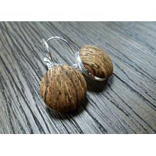 Brown Gold Cork Earrings