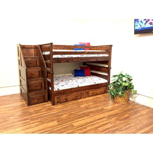 Full/Full Laguna Staircase Bunk Bed American Chestnut Finish