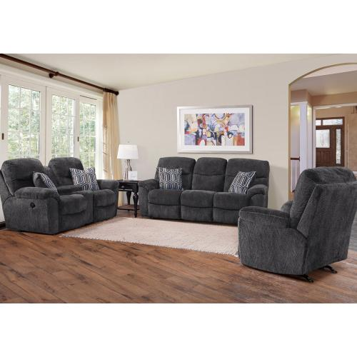 Cabot Reclining Sofa in Hercules Charcoal Fabric with Bimba Regetta Pillows