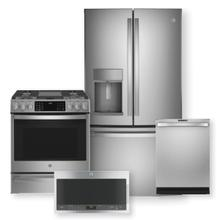 "GE Profile Series 27.7 Cu. Ft. French-Door Refrigerator & 30"" Smart Slide-In Front-Control Gas Range Package"