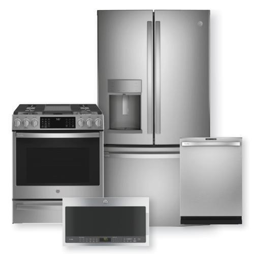 "GE Profile Series 27.7 Cu. Ft. French-Door Refrigerator & 30"" Smart Slide-In Front-Control Gas Range Package"