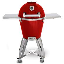 """See Details - 22"""" Caliber Pro Kamado Grill/Smoker (Powdercoated Red with Stainless Steel Handle)"""