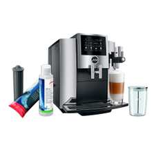 Jura S8 Automatic Coffee Machine Set with Smart Water Filter, Milk System Cleaner and Milk Container