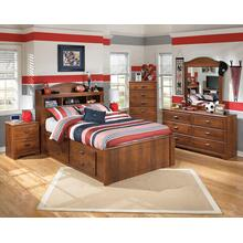 Barchan- Medium Brown- Dresser, Mirror, Chest, Nightstand & Full Bookcase Bed with Under Bed Storage