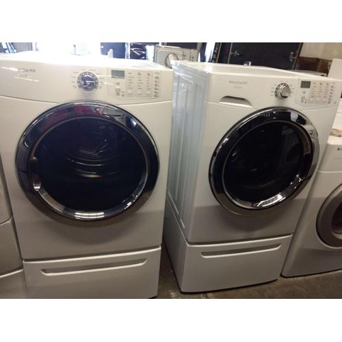Refurbished Frigidaire Affinity White Front Load Washer Dryer Set On Pedestals  Please call store if you would like additional pictures. This set carries our 6 month warranty, MANUFACTURER WARRANTY AND REBATES ARE NOT VALID (Sold only as a set)