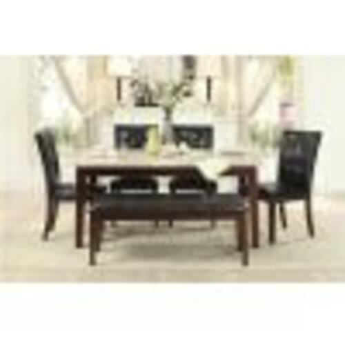 Decatur White Marble 5pc. Dining Room Set Plus Bench